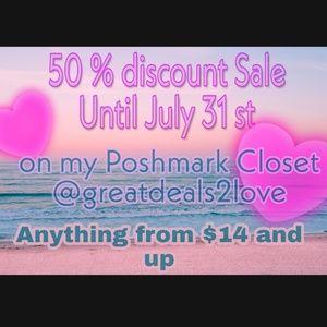 50 % Discount sale Until July 31 st